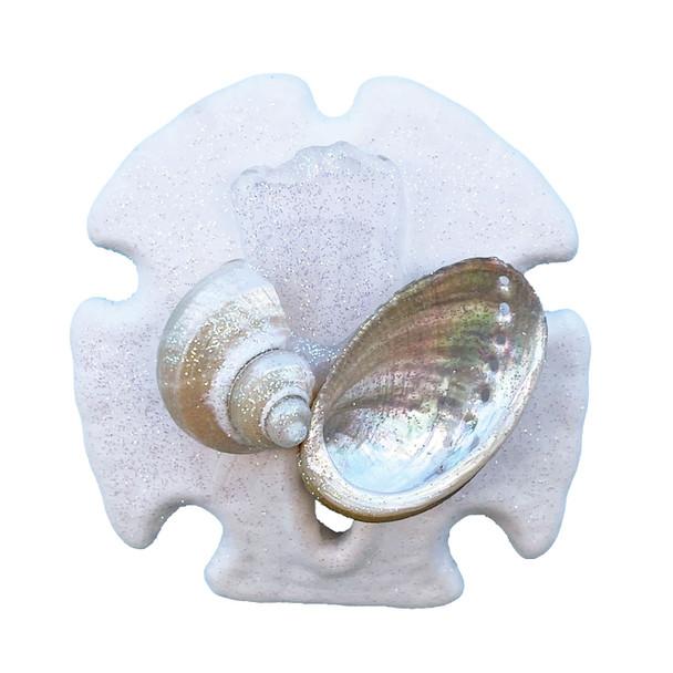 White Sea Glass Sand Dollar Magnet