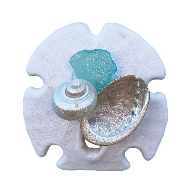 Aqua Sea Glass Sand Dollar Magnet