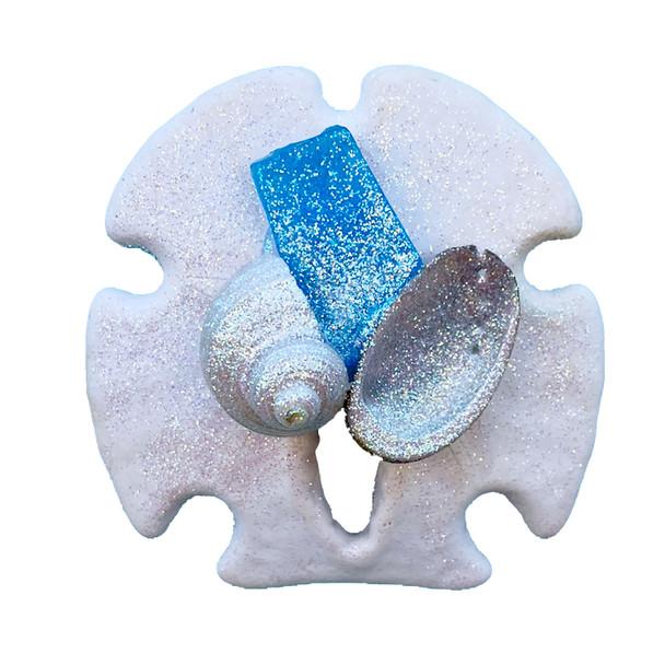 Light Blue Sea Glass Sand Dollar Magnet