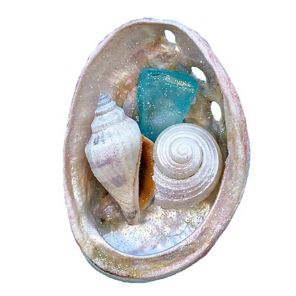 Aqua Sea Glass Abalone Magnet