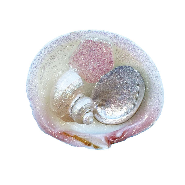 Pink Sea Glass Tegrina Clam Magnet