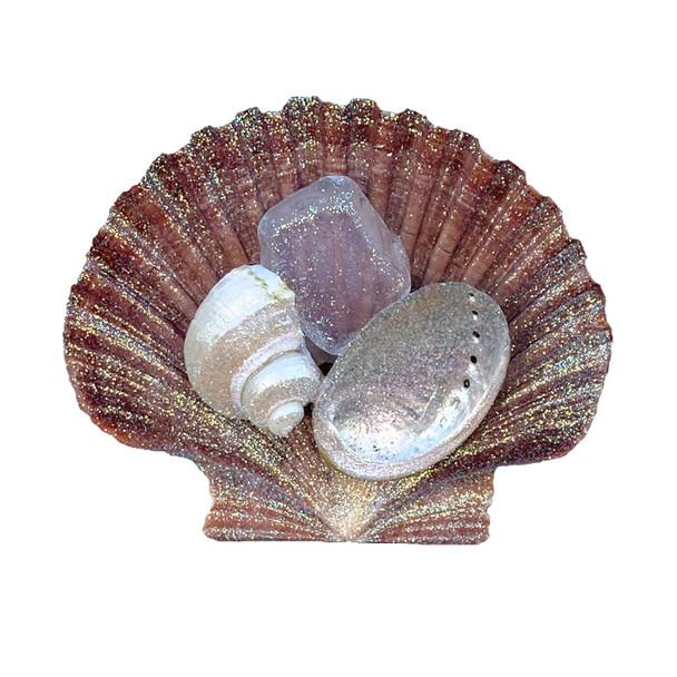 Brown Pectin with White Sea Glass Magnet