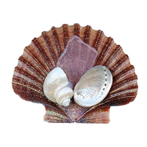Pink Sea Glass Brown Pectin Magnet