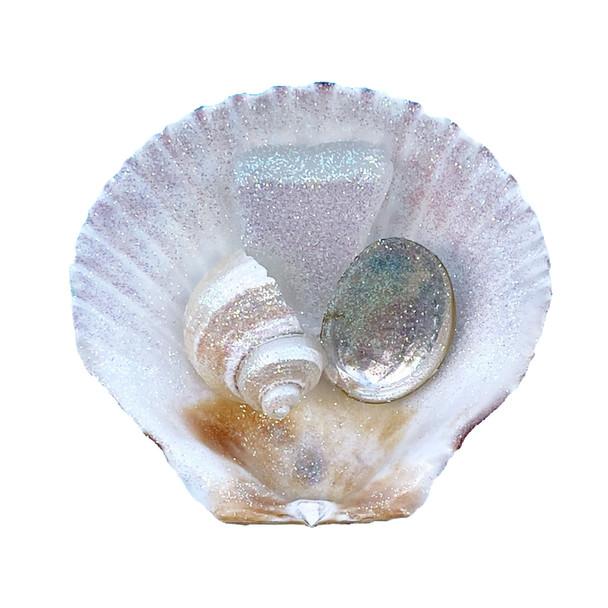 Calico Pectin with White Sea Glass Magnet