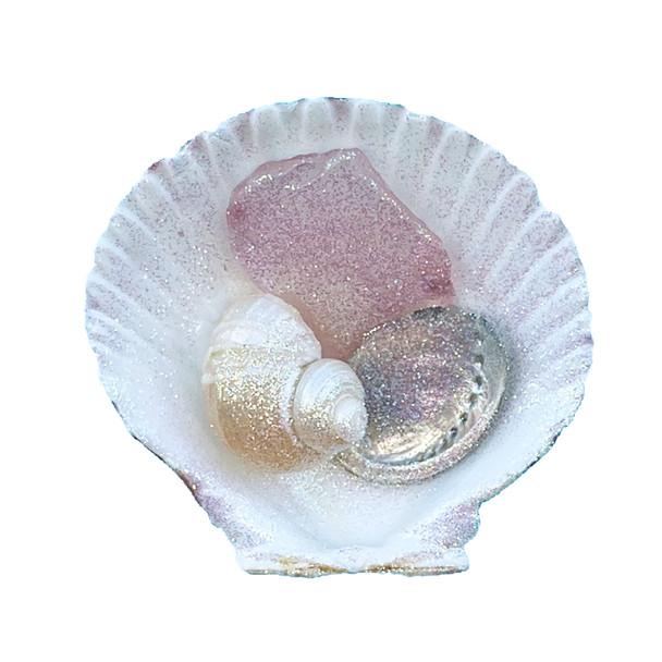 Pink Sea Glass Calico Pectin Magnet