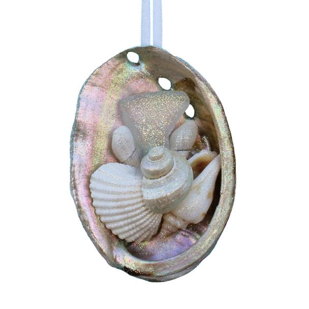 White Sea Glass Abalone Ornament