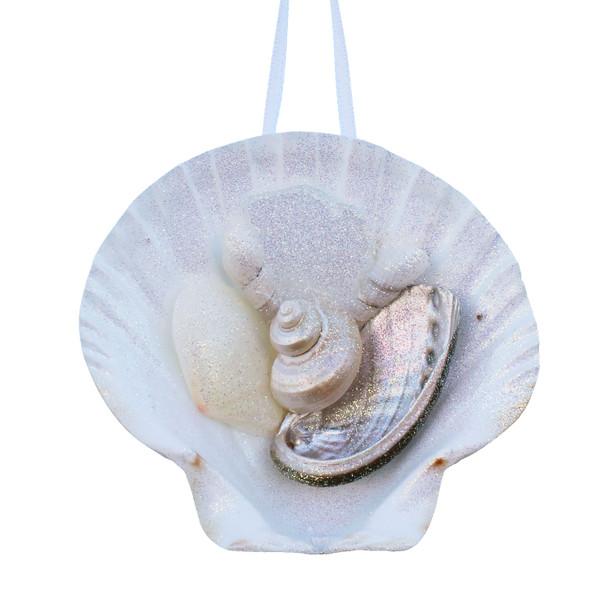 White Sea Glass Irish Scallop Ornament