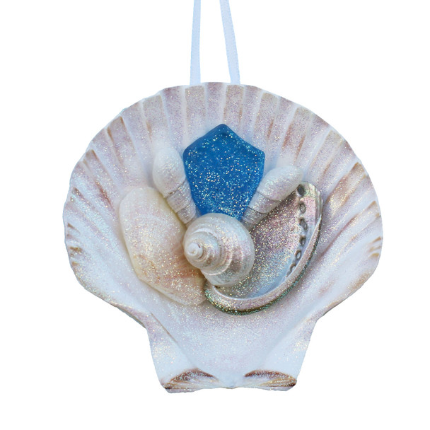 Light Blue Sea Glass Irish Scallop Ornament