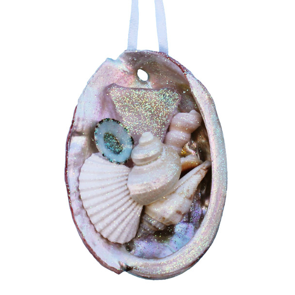 Pink Sea Glass Abalone Ornament