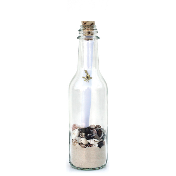 Small White Sand Message in a Bottle