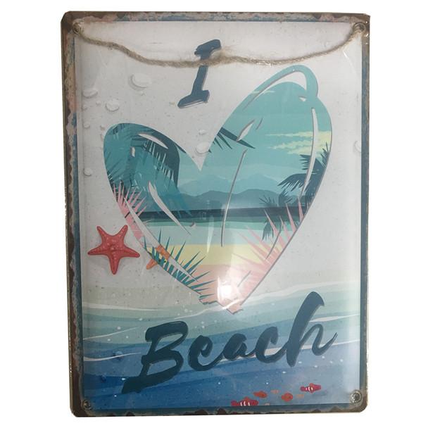 I Heart Beach Metal Sign