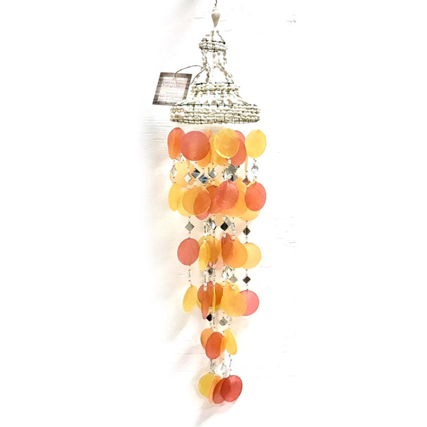 Sunset Orange Capiz Mirror Chime