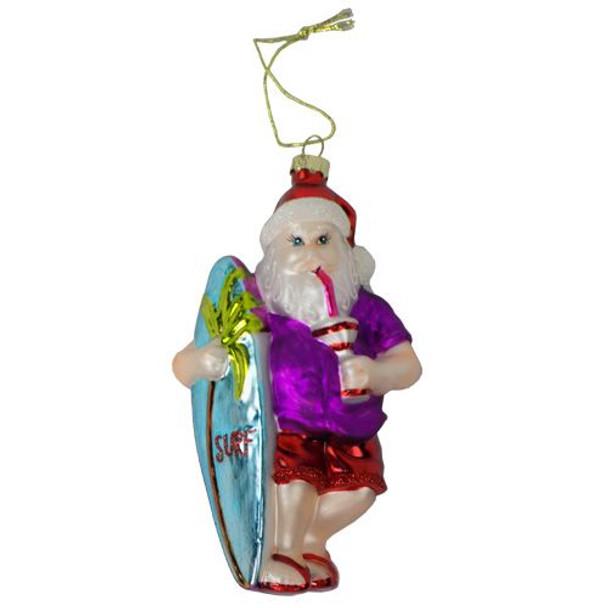 Surfing Santa Blown Glass Ornament