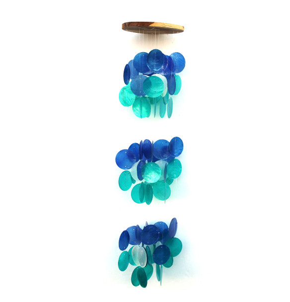 Triple Blue Capiz Shell Chime