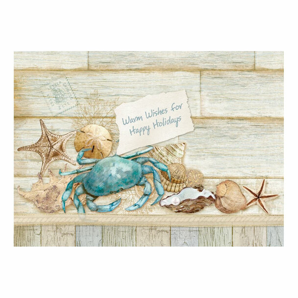 Blue Crab Hand Embellished Christmas Card