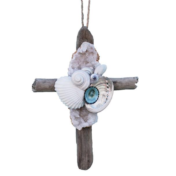 Geode Driftwood Cross Ornament