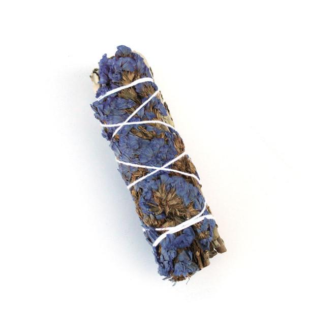 Sage Bundle with Blue Flowers