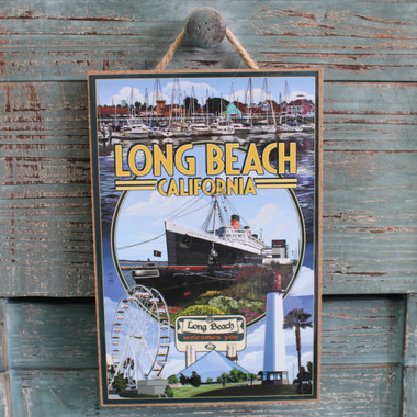 Long Beach Montage Wood Sign
