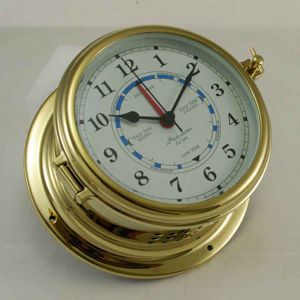 Ships Clock - Quartz Time & Tide - Solid Brass - H.B & Sons