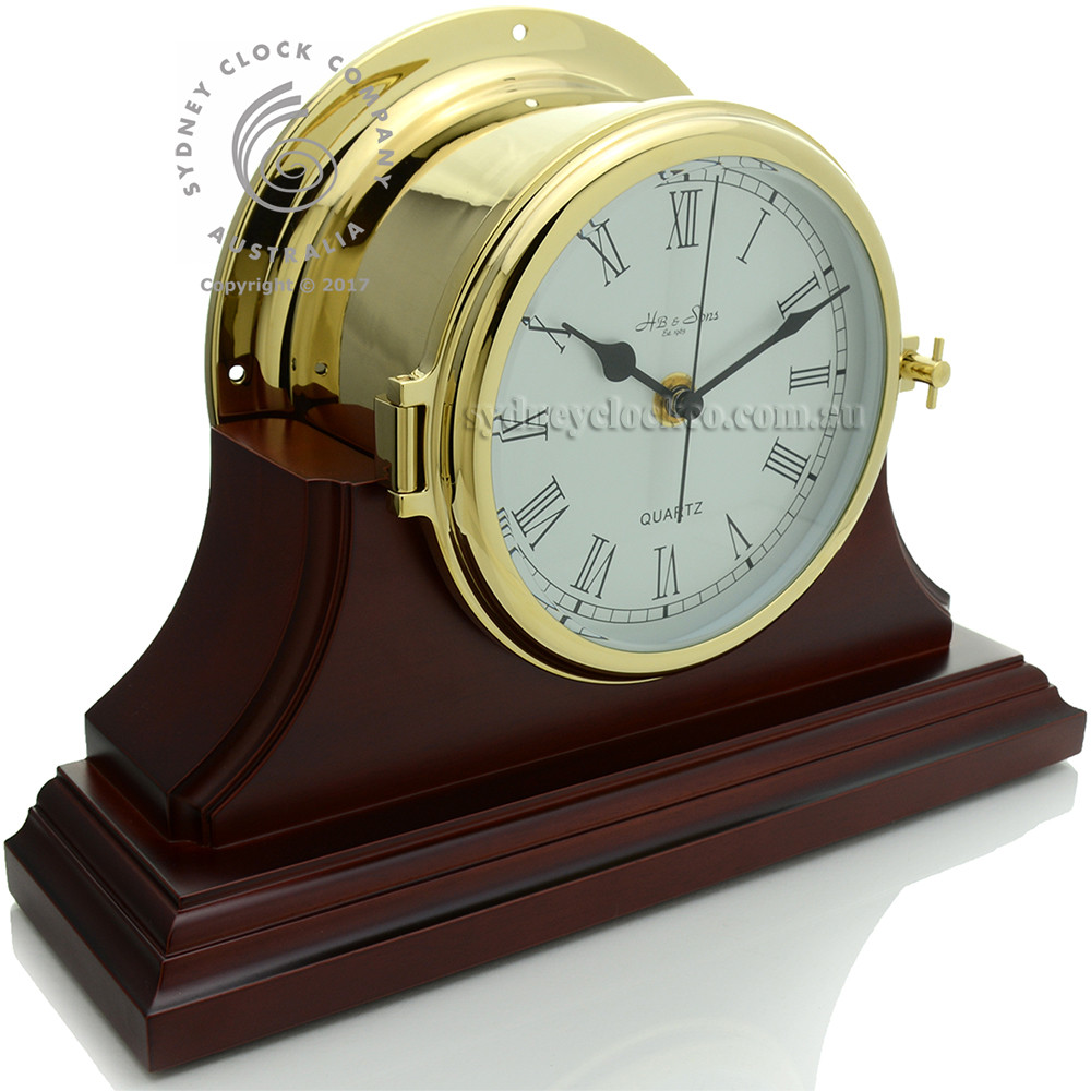 Ships Clock - Quartz - Solid Brass - H.B & Sons - Pictured on single mahogany stand (optional extra)