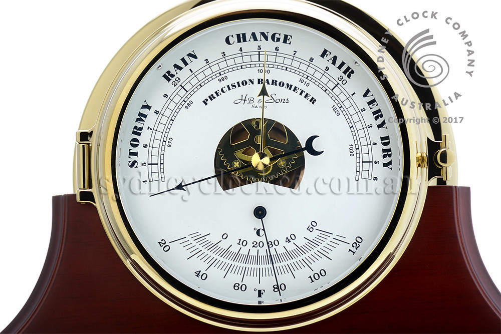 Ship's Barometer / Thermometer - Mechanical - Solid Brass - H.B & Sons - Pictured on a single mahogany stand (optional extra).
