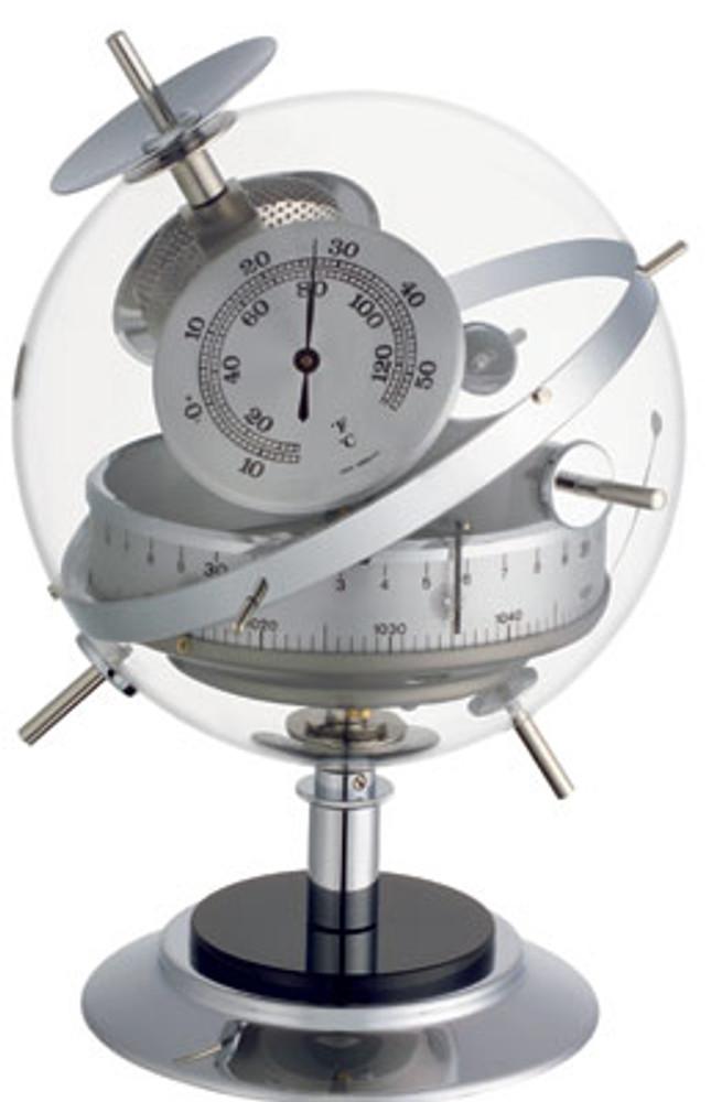 """Sputnik"" Weatherstation in Chrome.Barometer,Thermometer,Hygrometer."