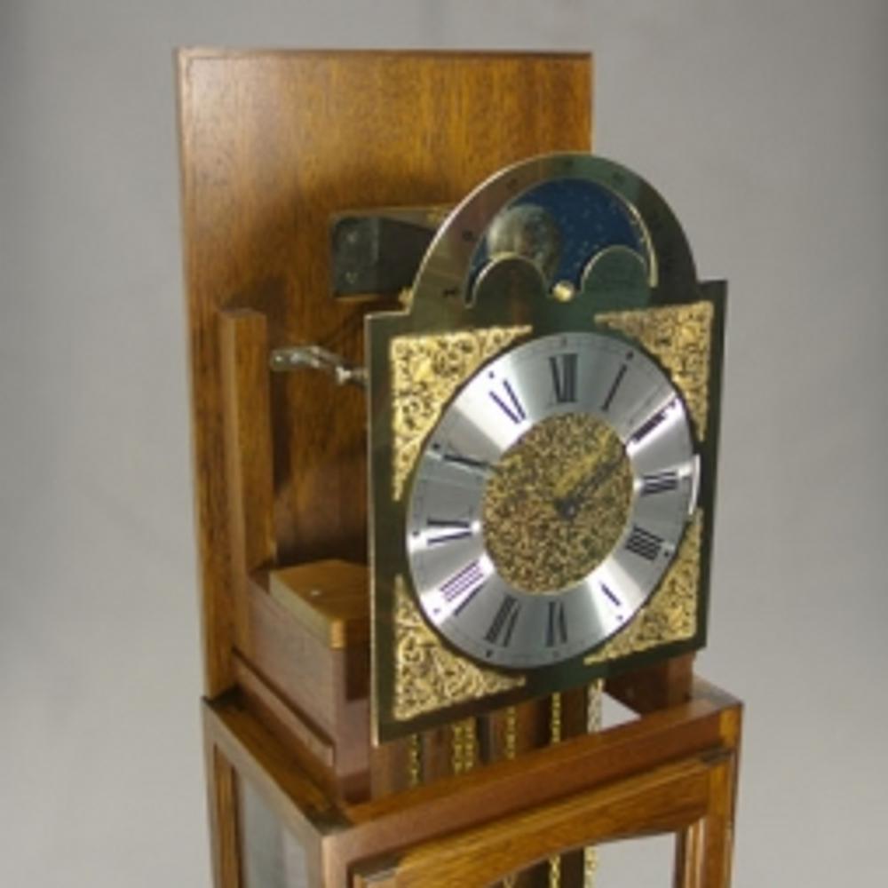 Floor Clock - 4/4 Chime - Hardwood - Walnut Finish - HB & Sons - hood off.