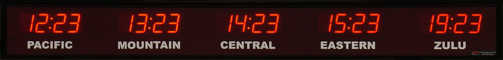 5 Time Zone Red LED Digital Clock.
