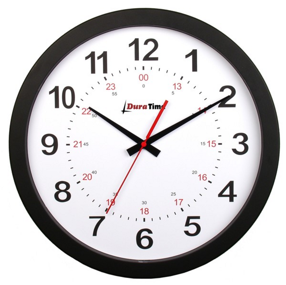 "DuraTime 12"" Analog Clock. Black.Also available in 15"" diameter. Contact us for advice and prices."