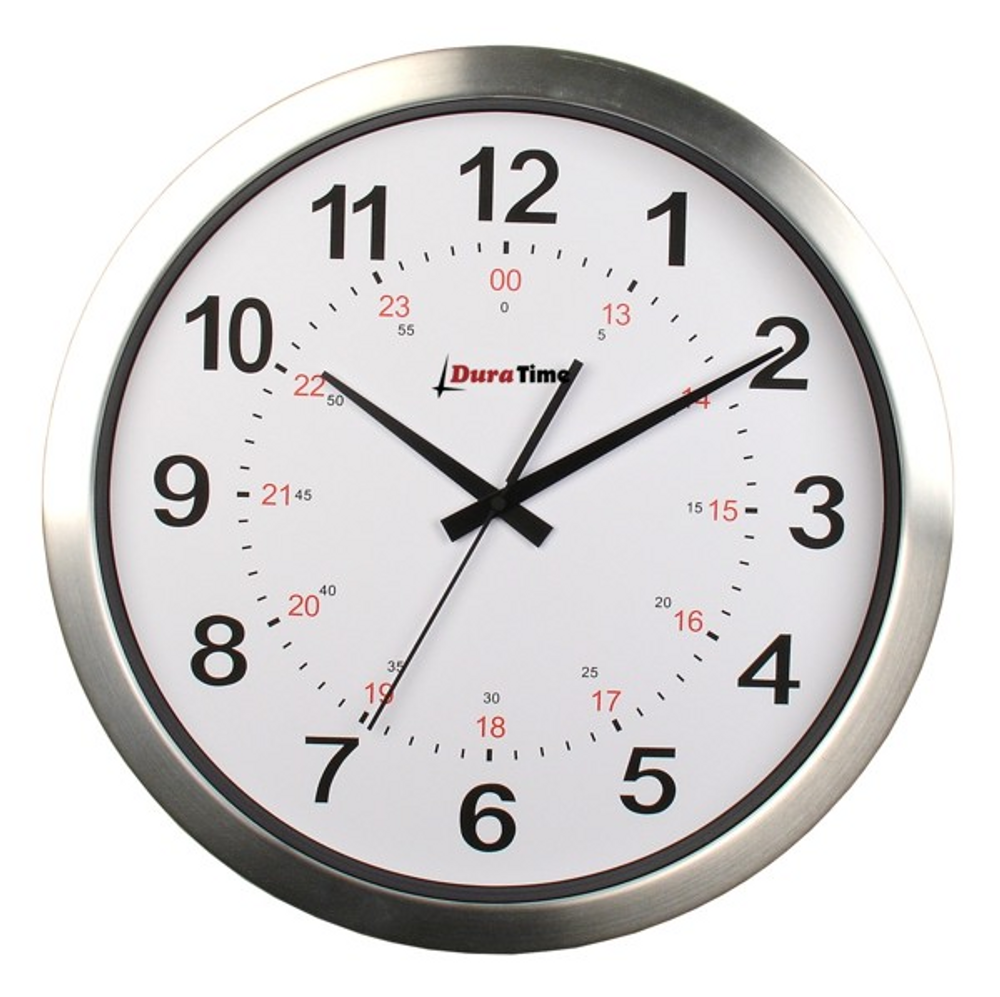 "DuraTime 12"" Analog Clock. Brushed Aluminium.Also available in 15"" diameter. Contact us for advice and prices."