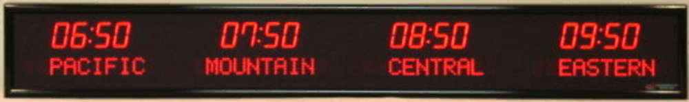 """BRG 6610B 4 x time zone clock.1.8"""" high time numerals and 1.2"""" high dot matrix programmable zones. Available in many colour options. Please call or email us for a quote."""
