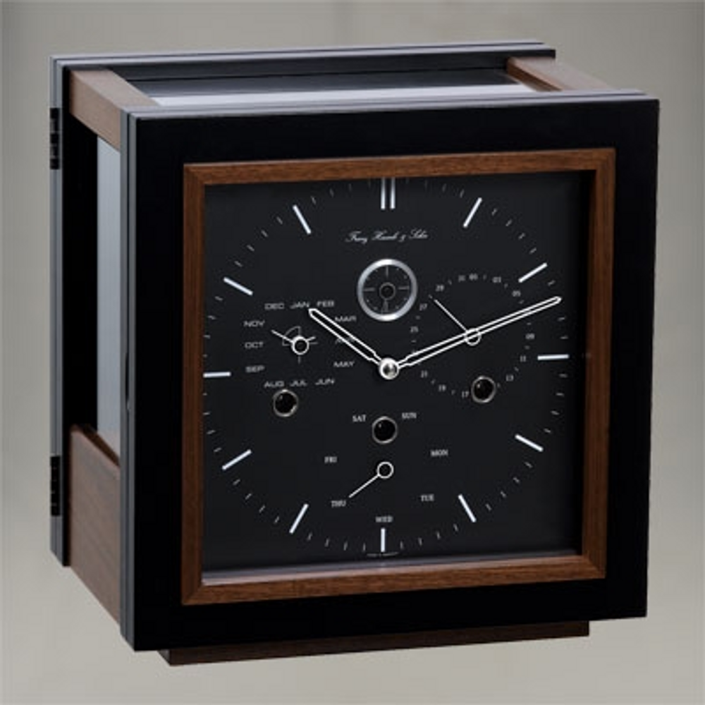 Monaco Table Clock - Black/ Timber and Crystal Glass - Hermle - Perpetual Date