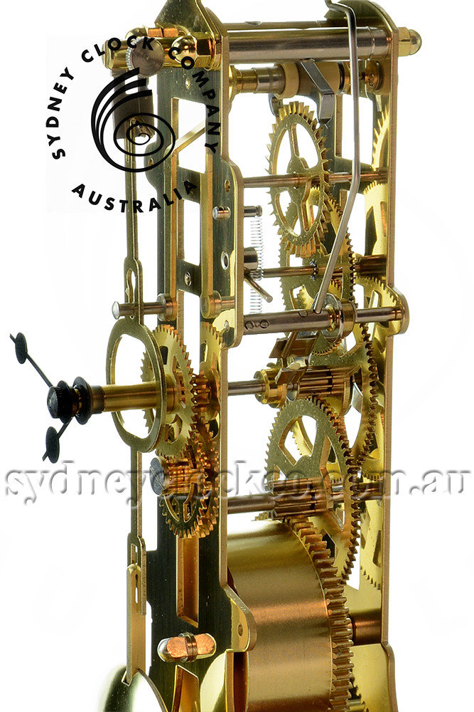 Mantel Clock - Brass skeleton movement - Hermle