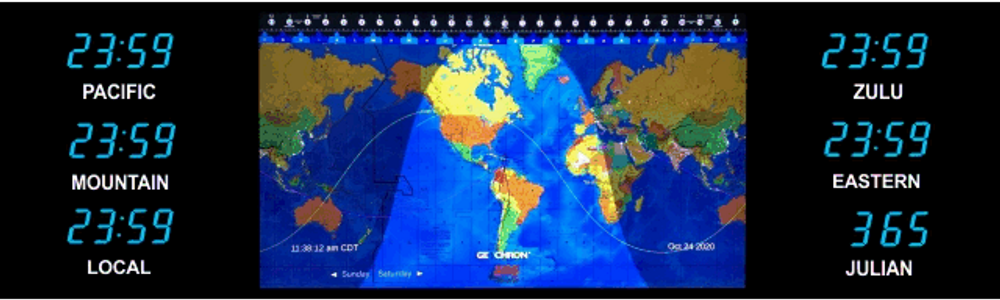 BRG Geochron Time Zone Display with 6 x zones