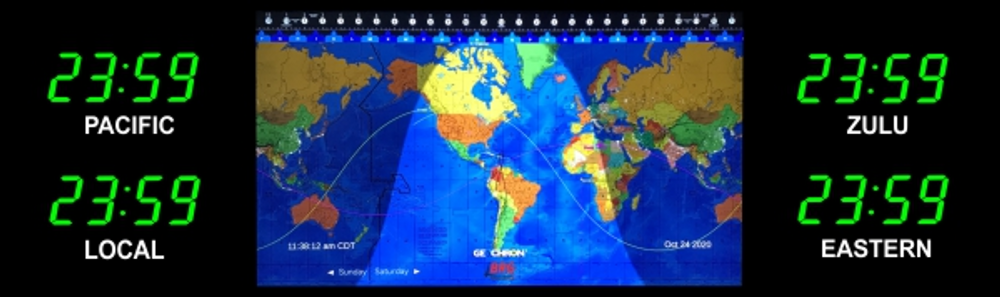 BRG Geochron Time Zone Display with 4 x zones