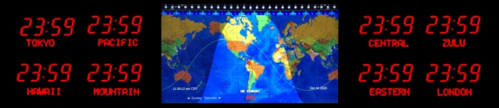 BRG Geochron Time Zone Display with 8 x zones