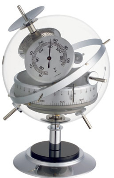 """Sputnik"" Weatherstation in Chrome.Barometer,Thermometer,Hygrometer."