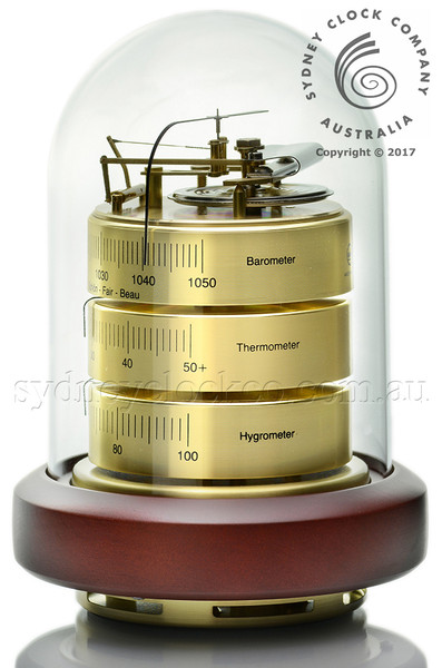 Barigo 3026 Weather Station - German Movement - Brass/Timber Base/Plexiglas Dome.Barometer.Thermometer,Hygrometer.