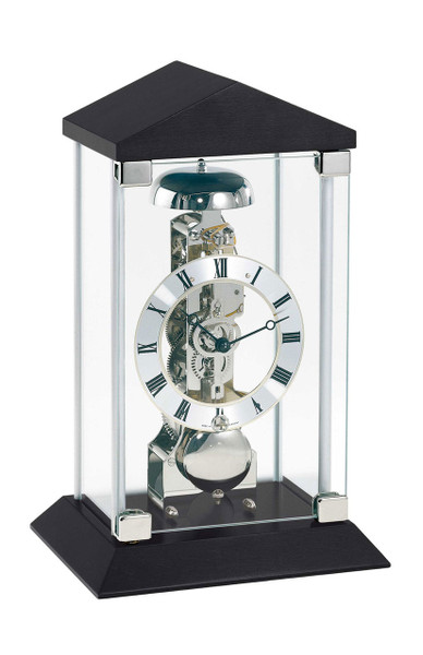Hermle 22786.740791 Black Timber and Glass 14 Day Mantle Clock with passing strike.