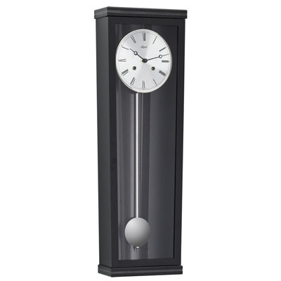 Hermle 1/2 Hour Strike Wall Clock with Silvered accessories and Carbon Fibre Inserts.