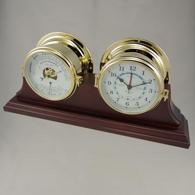 Ships Quartz Time & Tide Clock/Barometer/Thermometer Duet Set  - Solid Brass - H.B & Sons