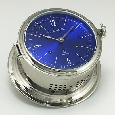 Ships Bell Clock 8 Day Mechanical Nickel Plated Hermle Nautical Yacht RoyalMariner Captains Clock