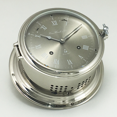 Hermle 8 day ships clock  in  Nickel Plated solid brass.