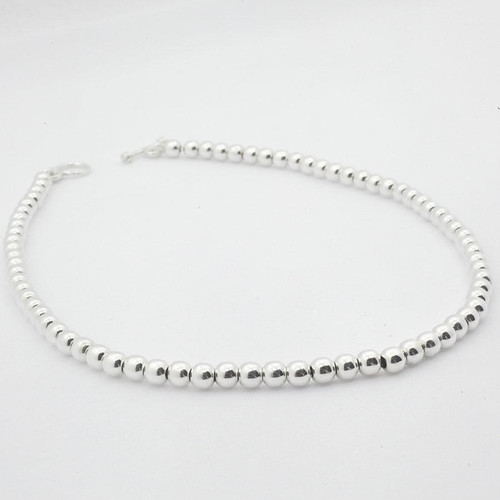 """SILVER NECKLACE BEATED 16"""""""