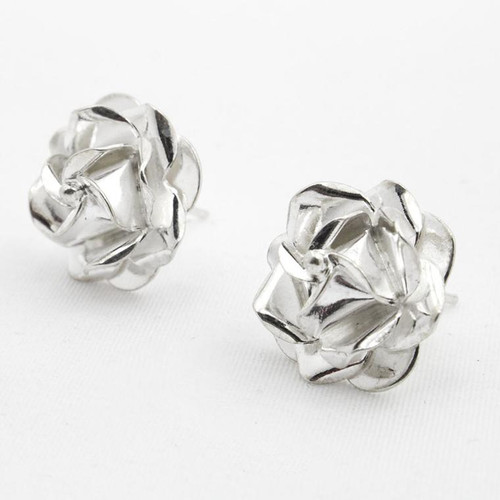 SILVER EARRINGS STUDS ROSE WHITE