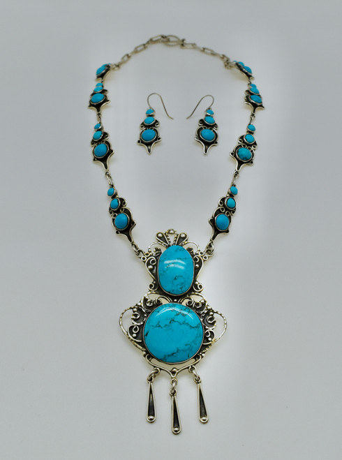 Statement Necklace with Sleeping Beauty Turquoise