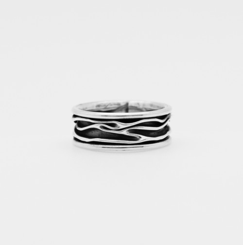 Corrugated Band with Oxidize Silver