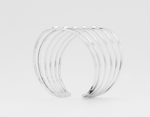 Silver Ring Cuff with beads