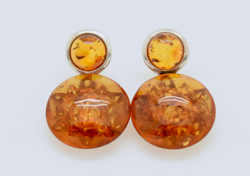 Amber Round Earrings with Sun