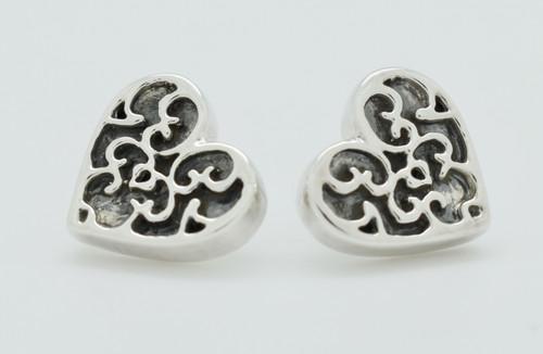 Electroform Filigree Heart Earrings